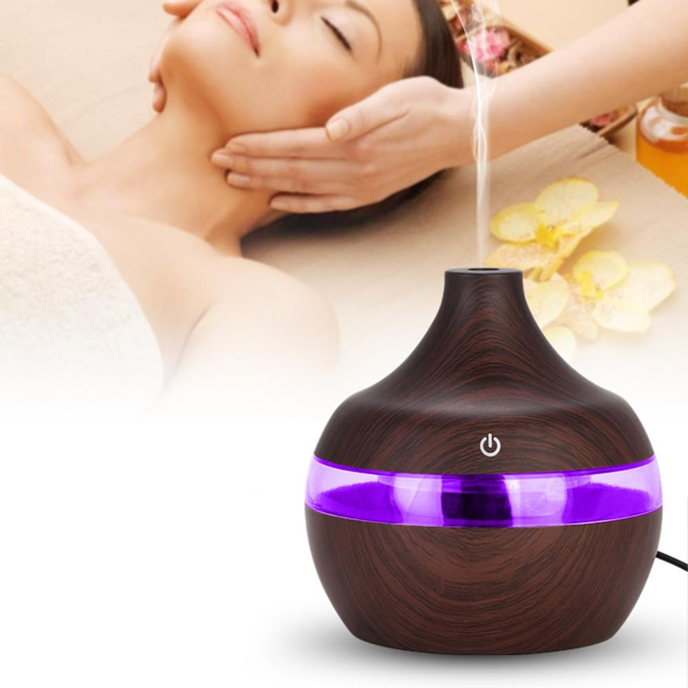 300ml Humidifier USB Ultrasonic Air Humidifier Electric Aroma Air Diffuser wood Essential oil Aromatherapy cool mist maker