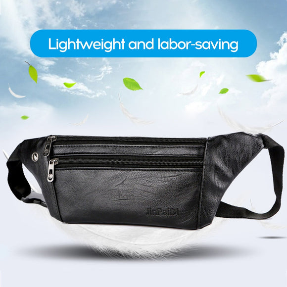 Chest Waist Bag Men Fashion Multi-layer Large Capacity Casual Outdoor Travel PU Leather Bag Waterproof Chest Handbag Chest Bag
