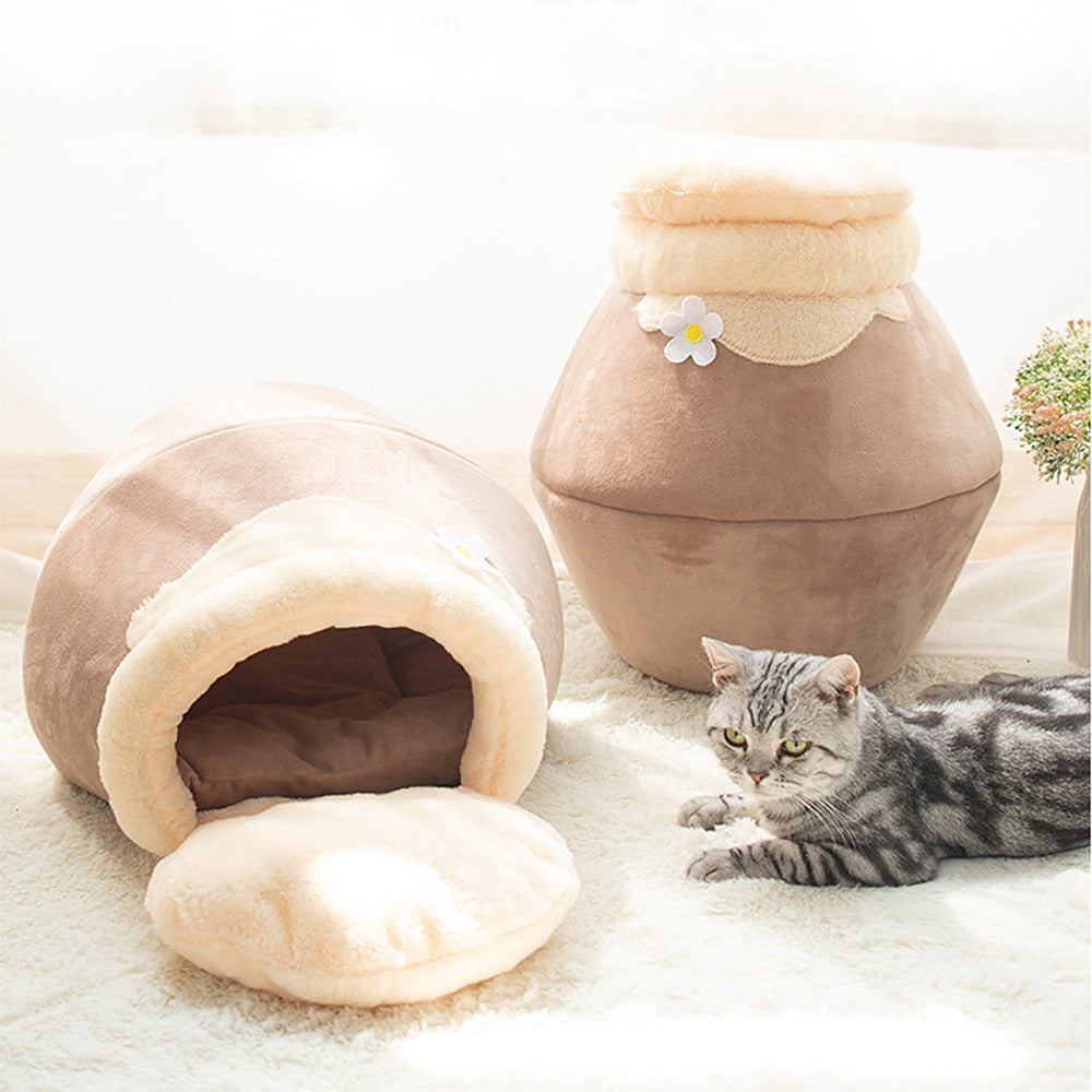 3 Ways Dog Cat Bed Pot Shaped Cat Sleeping Bag house Winter Warm Tent Pet House Cat Nest With Detachable Cushion Mat for Cat Dog