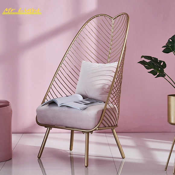 Mid Century Modern Novel Metal Steel Leisure Chair Iron Wire Chair Dining Stools Coffee Bar Living Room Furniture 3 Colors