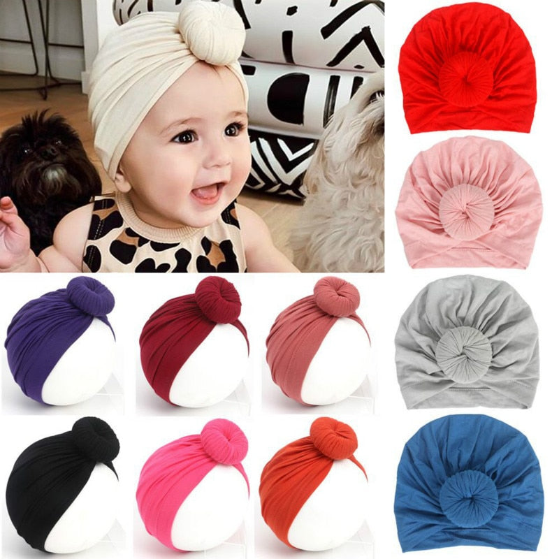 Toddler Kids Baby Girl Boy Turban Cotton Beanie Hat Winter Cap Knot Solid Soft Hospital Caps 2020 Baby Accessories For Newborn