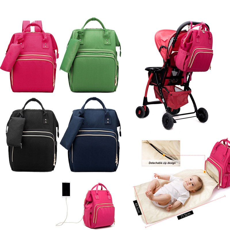 USB Mummy Maternity Nappy Bag With Changing Pad Brand Large Capacity Nursing Bags Travel Backpack Designer With Hooks
