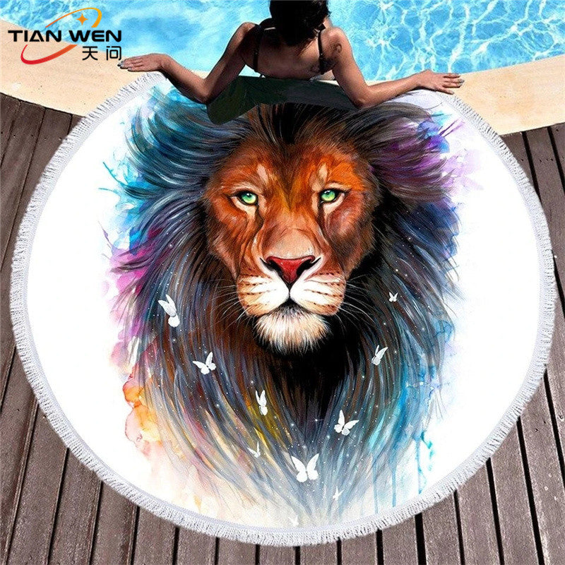 Art Lion Microfiber Round Beach Towel Indian Flower Tassels Thick Serviette Quick Compressed Towel Tapestry Yoga Mat