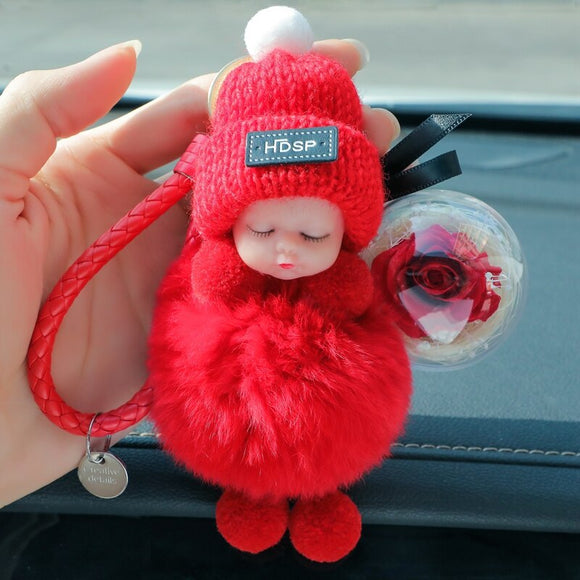 Cute Car Key Ring Sleeping Baby Furry Plush Flower Keychain Car Accessories for Girls Women Ladies Gift Lovely Doll Bag Pendant