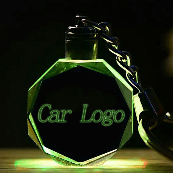 20 Model New Luminous Glow Key Chain Car Logo LED Cut Glass Keychains Party Supplie Car Logo Key Ring Keyrings