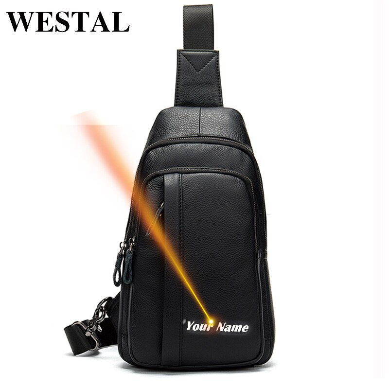 WESTAL Men's Belt Bag Black Chest Bags Genuine Leather Casual Travel Chest Pack Leather Messenger Bags Men Sling Bags Male 707