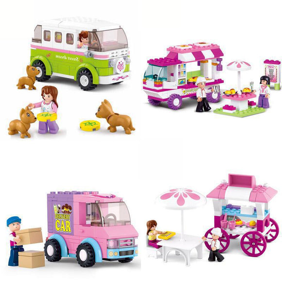Girl Friends Snack Car Delivery Car Dining Car Travel Car Model Building Blocks Figure Toys for Children Compatible Lepining