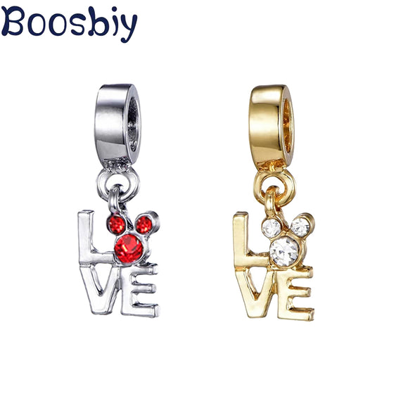 Boosbiy 2pc DIY Crystal Cartoon Anime Mickey Charm Beads Pendant Fits Pandora Bracelets Making For Women Kids Jewelry Gift
