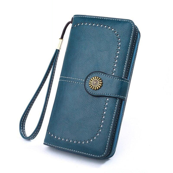 Women Wallet Leather RFID BLOCKING Ultra Thin Envelope Purse Travel Clutch with ID Card Holder and Phone Pocket Men card wallet