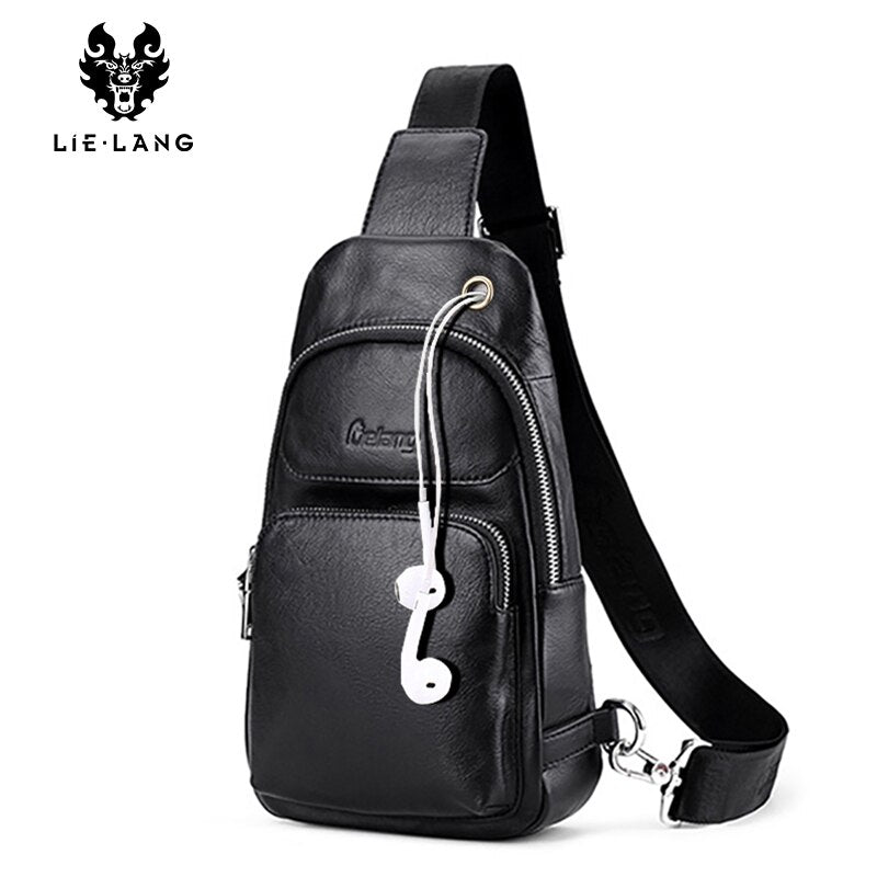 LIELANG Chest Bag men Leather Men Shoulder Bag Casual Brown Men Bag Cowhide Leather Men's Messenger Bag