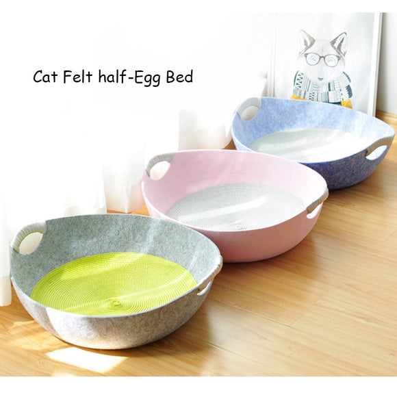 Half-Egg Shape Dog Cat Bed Cat Sleeping Bag Felt Cloth Warm Pet House Cat Nest With Detachable Cushion Mat Bed for Chihauhua Cat