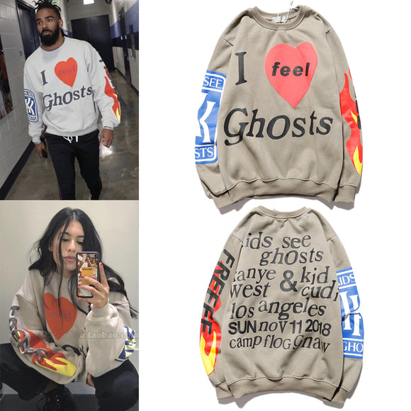 I feel Ghosts Hoodies Men Women Hip Hop KIDS SEE GHOSTS Hoodie Kanye West & Kid Cudi Los angeles Sweatshirts