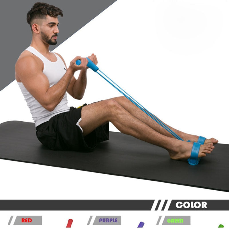 4 Resistanc Elastic Rower Belly Resistance Band  Fitness Gym Trainig Pull Rope Home Exerciser Gym Sport Expander Pedal Puller