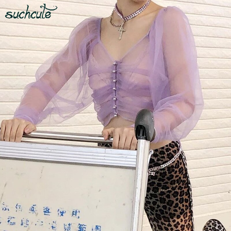 SUCHCUTE Mesh Tshirt For Women Perspective Modis Long Sleeve Harajuku Girlish Streetwear Casual Korean Style Female Top Festival