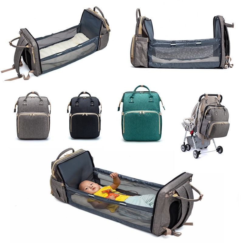 Multifunctional 2 in 1 Baby Diaper Bag Backpack Portable Fold Outdoor Travel Backpack Baby Bed Bag Waterproof Nappy Stroller Bag