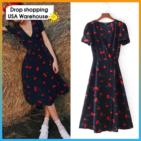 OUSHANG 2020 Woman Lacing up Waist Slit Mid Long Slim Fit Summer Dresses 2 colors  French Cross V neck Floral Print Wrap Dress