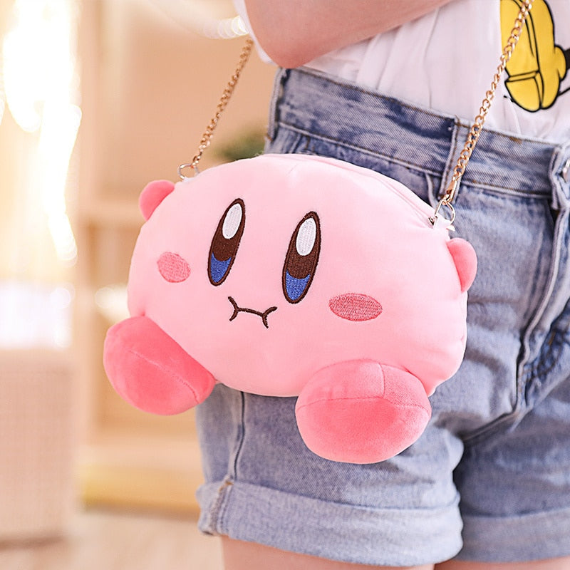 Cute Star Kirby Messenger Bag Shoes Eyemask Coin Purse Kirby Headgear Plush Toys Soft Stuffed Doll Drawstring Pocket Backpack