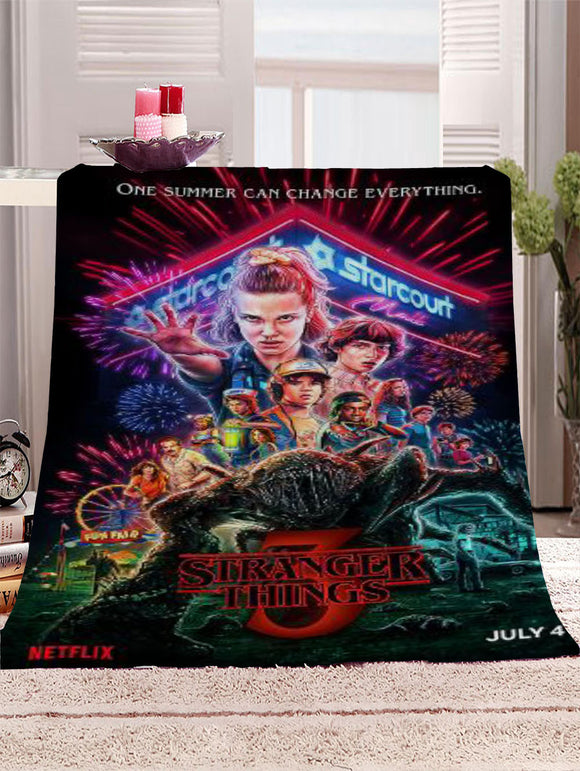 Anime Stranger Things Movie Blanket Mat Tapestry Soft Bedspread Beach Travel Towel Warm Travel Towel
