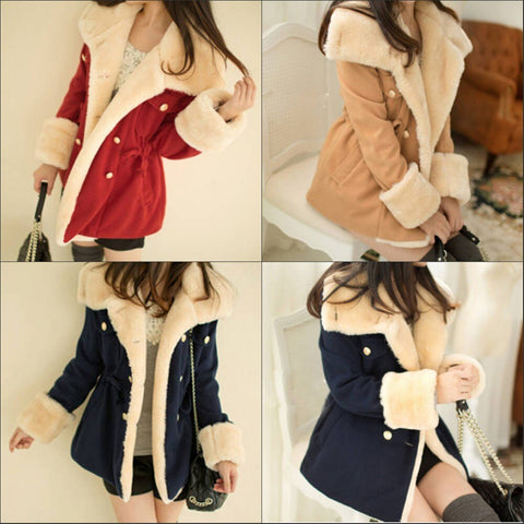Women/'s Fashion Winter Mid Length Thick Warm Faux Lamb Wool Lined Jacket Coat