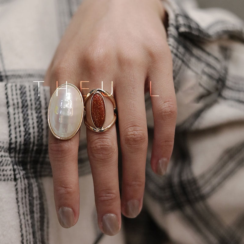 Ins Brief Nature Shell Oval Finger Rings For Women 2019 GEO Adjustable Rings Girls Femme Bijoux Top Quality Gold Korean Ring