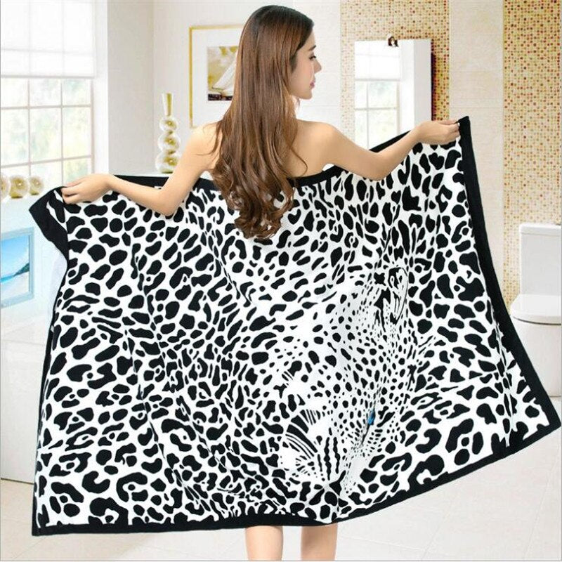 Summer Ladies Panther Printed Beach Polyester Printing Adult Beach Towel Soft Absorbent Towel Douche Bath Towel