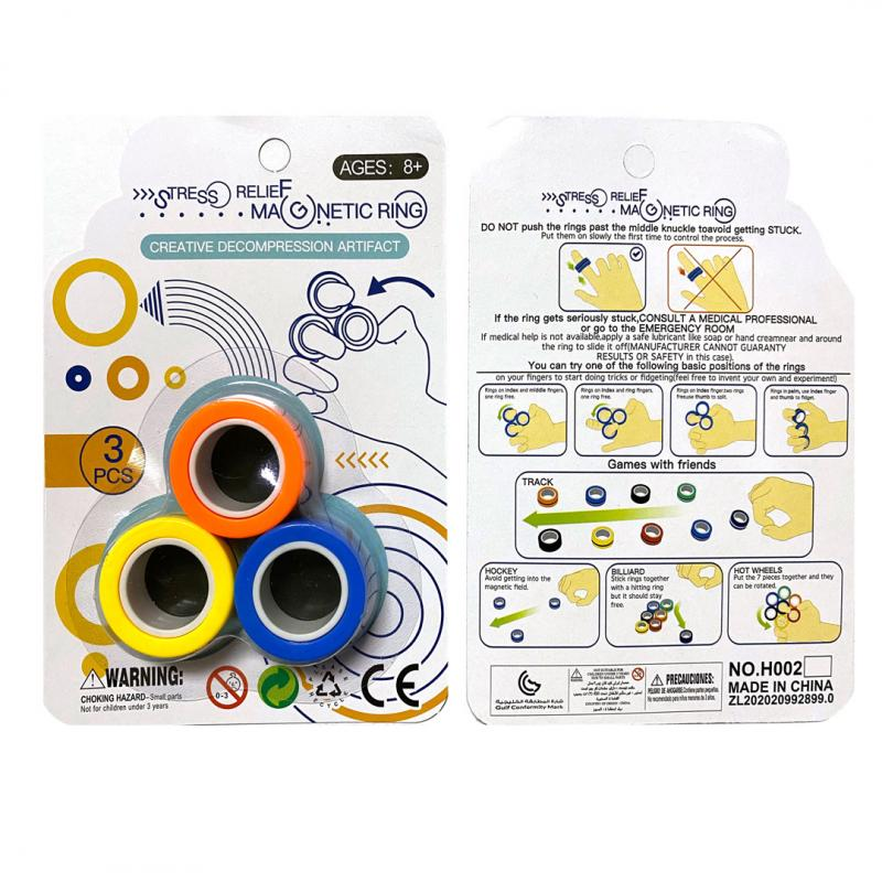 3PCS/Set Anti-stress Pressure Magnetic Rings For Autism ADHD Anxiety Relief Focus Decompression Ring Stress Relief Toy