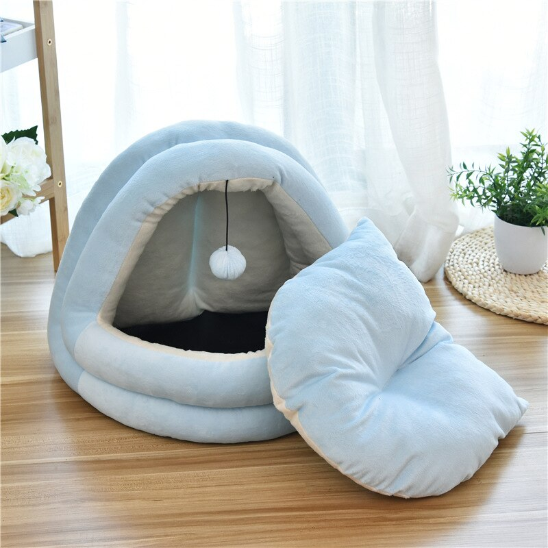 Half-Closed Shape Dog Cat House Cat Sleeping Beds with Ball Winter Warm 3 Szie 2 Color Pet Cat Nest With Detachable Cushion Mats