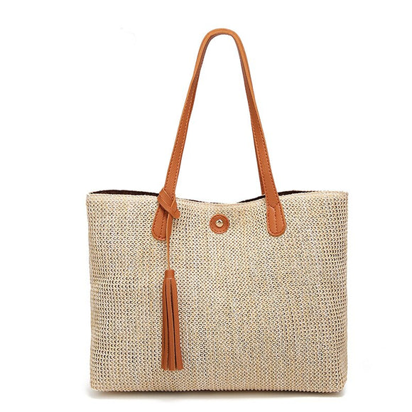 Summer straw bag women handbag designer inspiration handbag big rattan bag wild tassel fashion shoulder hand-woven beach bag