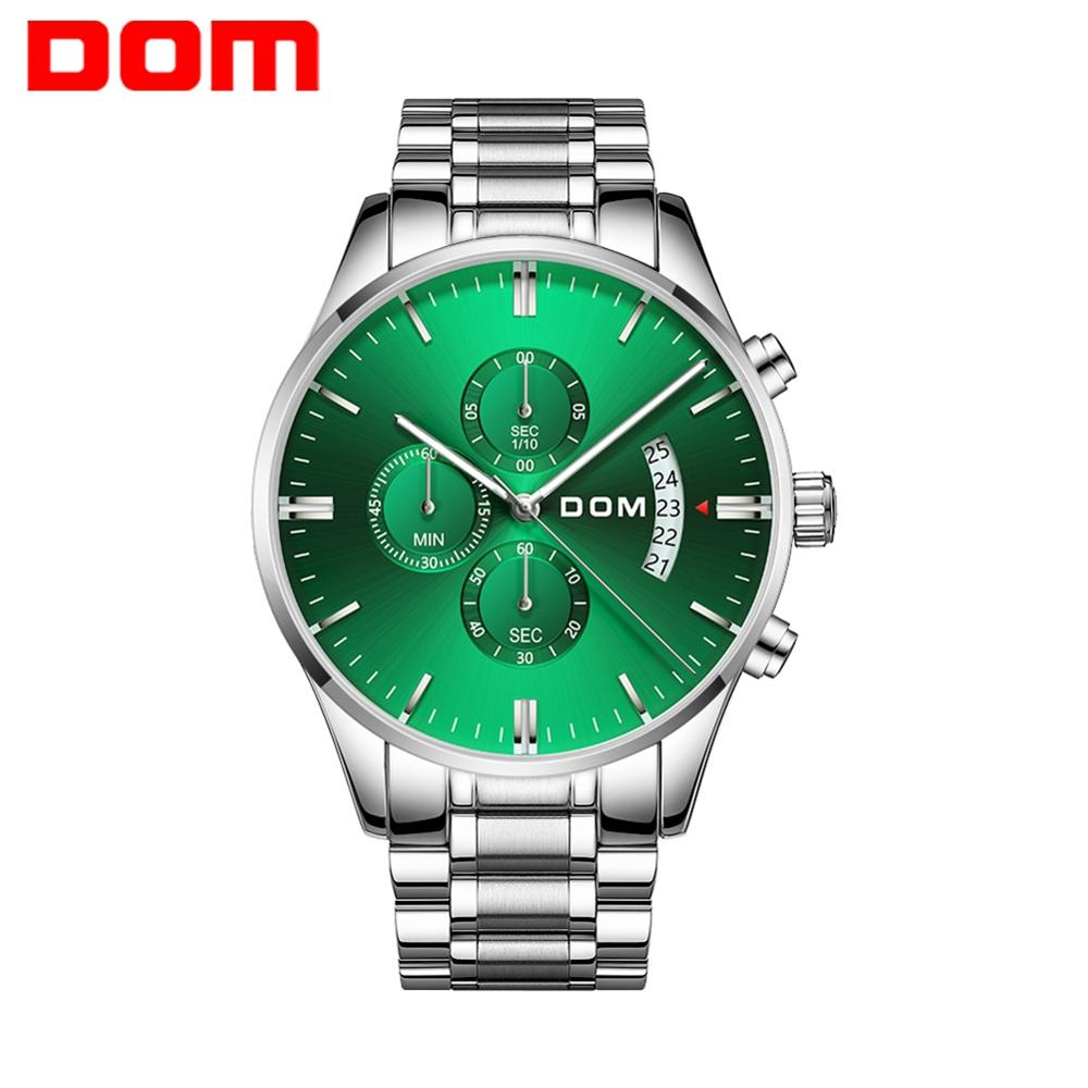 DOM Casual Sport Watches for Men Green Top Brand Luxury Military Steel Wrist Watch Man Clock Fashion Chronograph Wristwatch