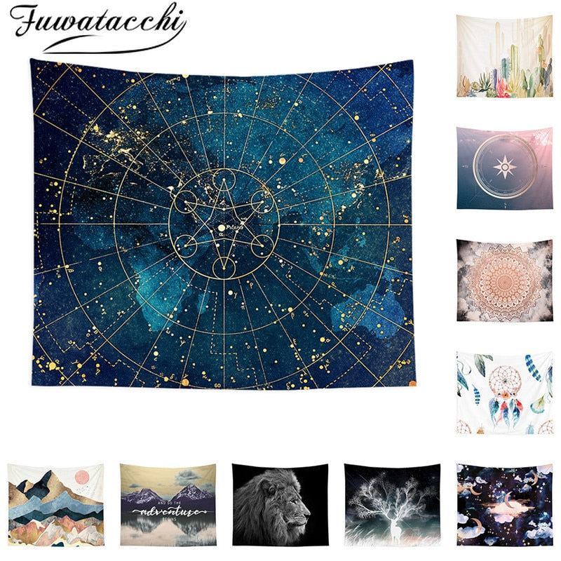 Fuwatacchi Galaxy Landscape Printed Tapestry Wall Hanging Tapestries Camping Travel Mattress Sleeping Pad Sandy Rug Blankets New