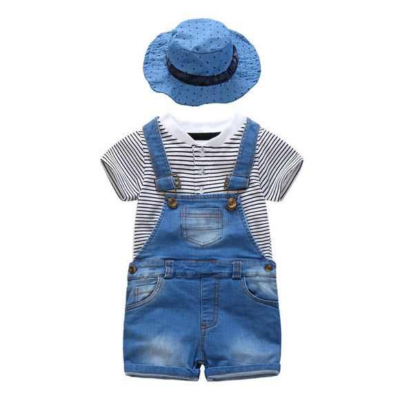 Baby Boys Outfits Set,Short Sleeve T-Shirt + Denim Overalls +Sun Hat , Summer Casual Wear