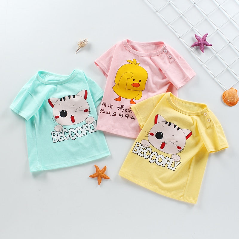 Lovely Duck Pink 2-6 T Toddler Baby Girls 100/% Cotton Short Sleeve T Shirt Top Blouse Tee Clothes