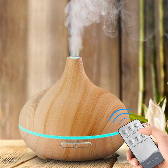 Wood Air Humidifier Aroma Essential Oil Diffuser remote control 7 Colors Changing LED Lights Electric cool Mini mist maker