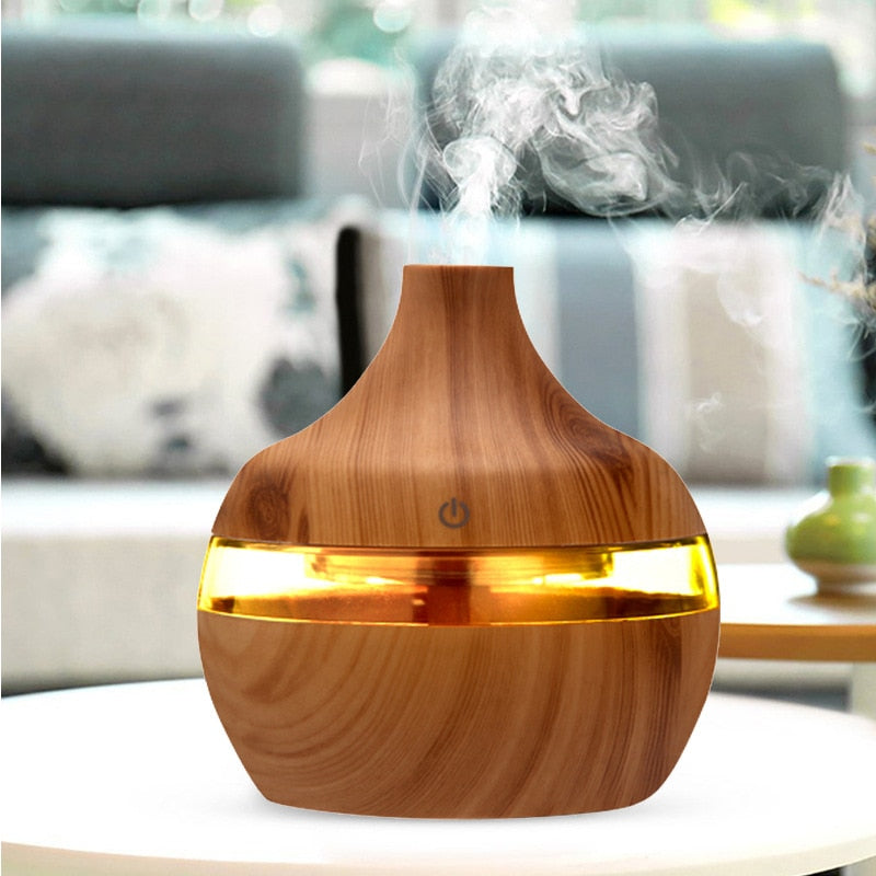 300ml USB Electric Humidificador Wood Grain 7 Color LED Lights Mini Air Humidifier Essential Oil Diffuser Mist Make For Home Car