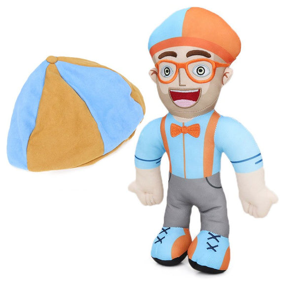 6pcs Blippi Plush Doll 12.6inch Soft Stuffed Toy Educational Dolls for Toddlers Blippi Hat Cosplay Prop Baby Gift