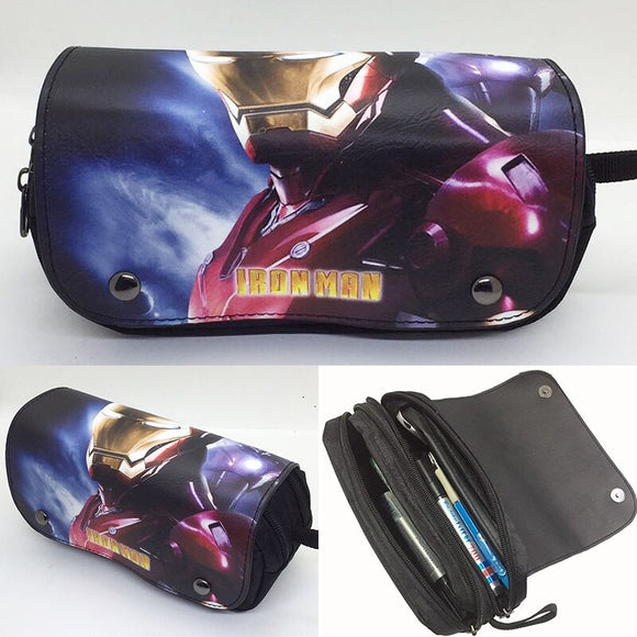 Large Capacity Ironman Pencil Cases Bags Anime Cartoon Super Hero Iron Man Pen Holder Leather Cosmetic Bag