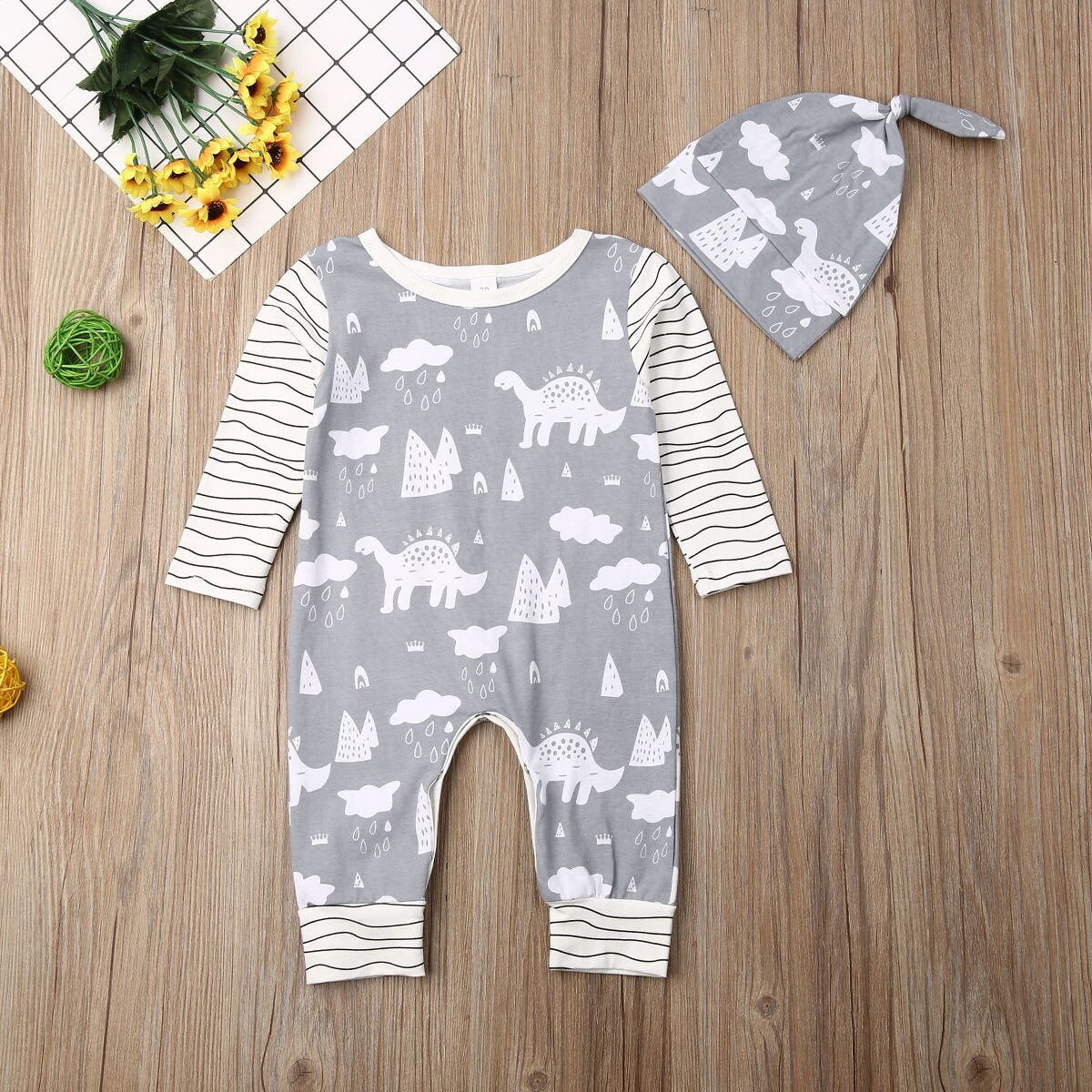 Pudcoco Autumn Newborn Baby Boy Girl Clothes Cotton Cartoon Dinosaur Print Long Sleeve Striped Romper Jumpsuit Hat 2Pcs Outfits