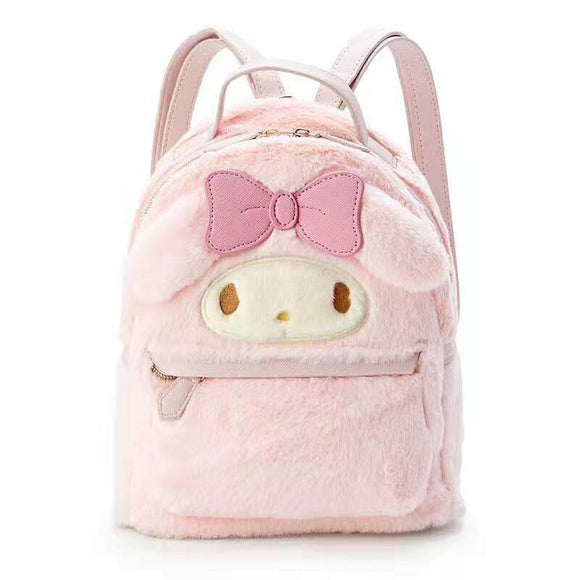 Cinnamoroll My Melody Small Plush Backpack Cute Cartoon Ears Pink Leather Back Pack Mini Backpack for Teenage Girls Knapsack