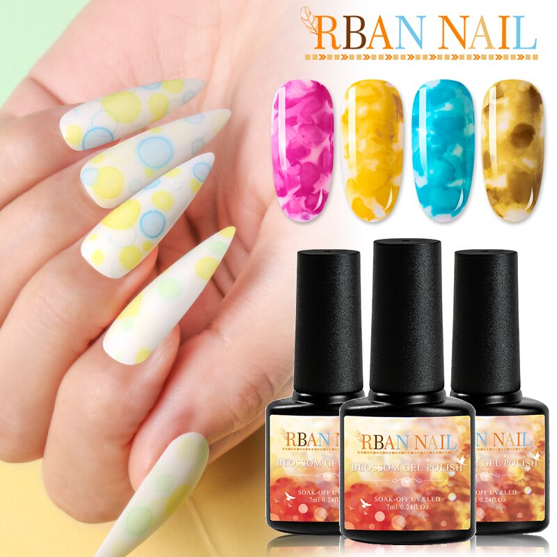 RBAN NAIL Blooming Effect Flower Gel Polish Soak off UV Nail Glue Gel 7ML Blossom Gel Nail Art Transparent Nail Polish Manicure