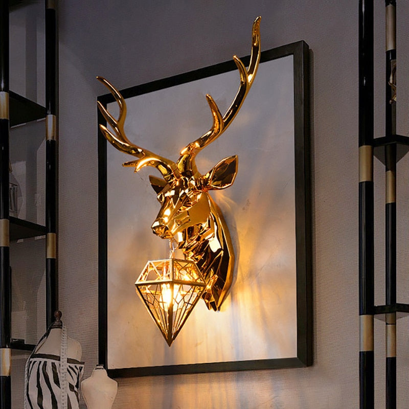 Modern LED Retro Deer Wall Lamp Antlers Home Decorative Wall Light Living Room Decoration Wall light Dining Room Indoor Lighting