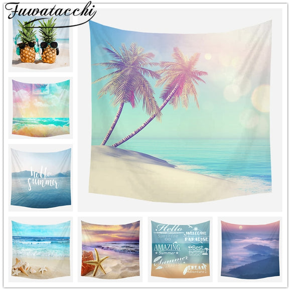 Fuwatacchi Sea Wall Fabric Vacation Style Tapestry Wall Hanging Summer Blanket Colorful Carpet Beach Towel Bedroom Decoration