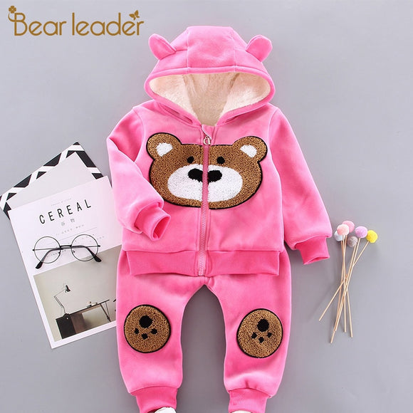 Bear Leader 2020 New Baby Boys Winter Warm Outfits 2PCS Zipper Long Sleeve Jackets with Hat and Pants Kids Girls Cartoon Suits