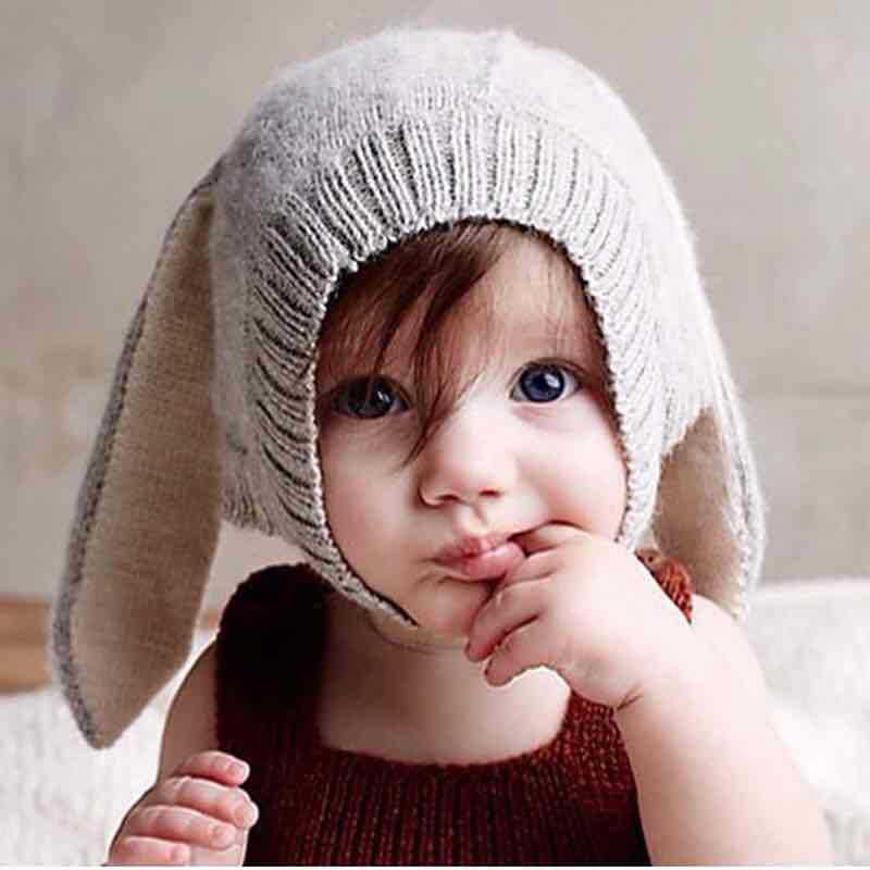 Children cute animal hat warm newborn rabbit ear knitted infant hats baby toddler boy girl autumn winter kids cap
