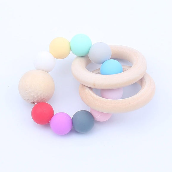 2019 Baby Nursing Bracelets Silicone Teether Teething Wood Rattles Toys Baby Teether Bracelets Nursing Toys for  Baby Products