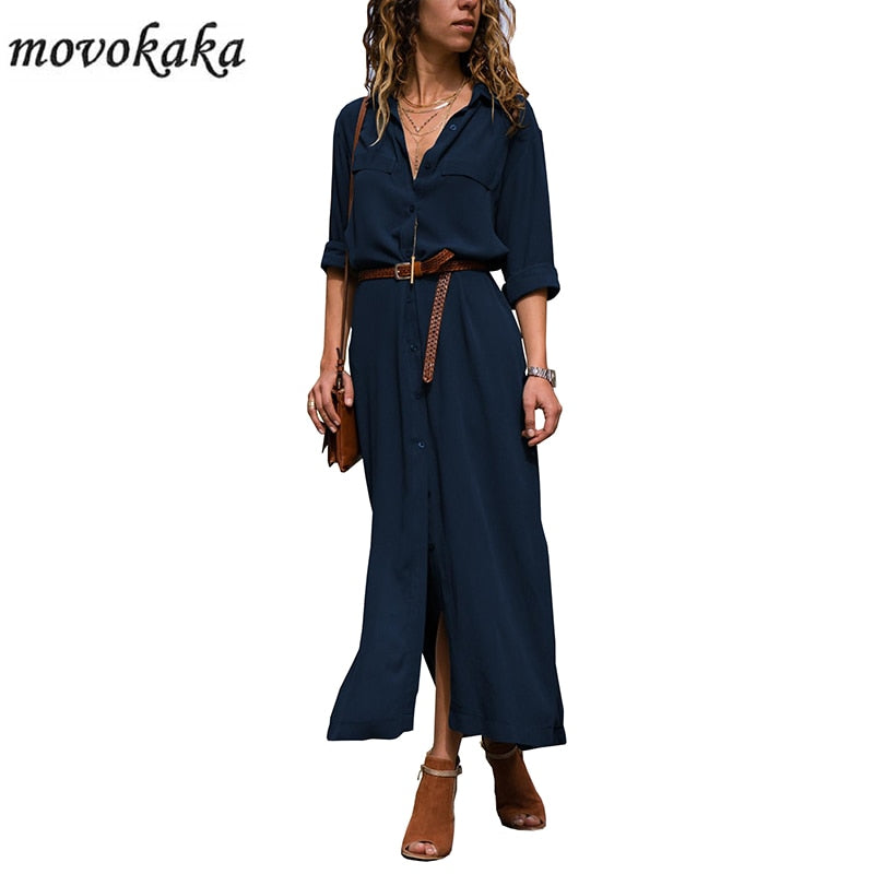 MOVOKAKA New Blue Elegant Dress Women Long Sleeve Casual Dress Long Plus Size Dresses Woman Party Button Slim Dress Women Office