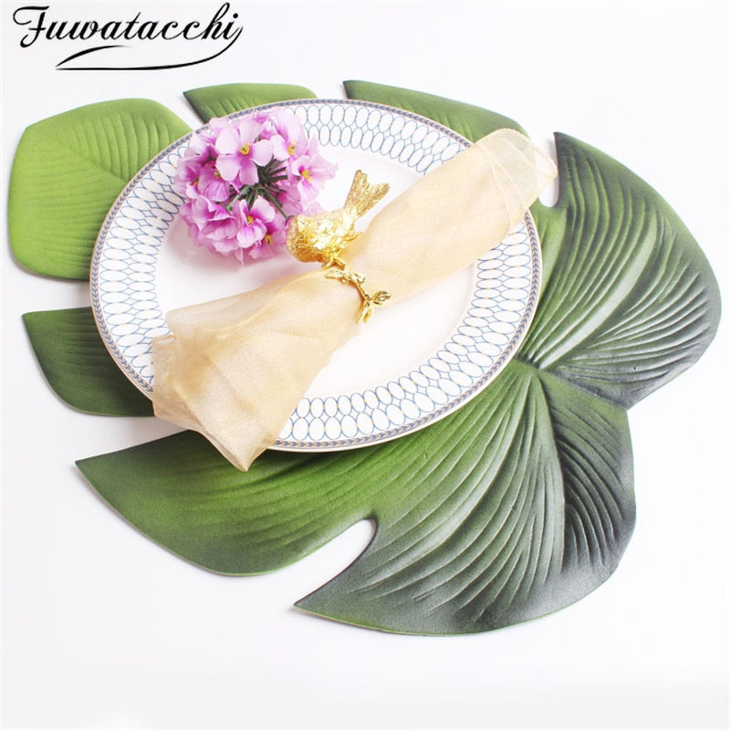 Fuwatacchi Green Placemat for Dining Gold Table Leaf Simulation Plant PVC Cup Coffee Table Mats Kitchen Waterproof Home Decor