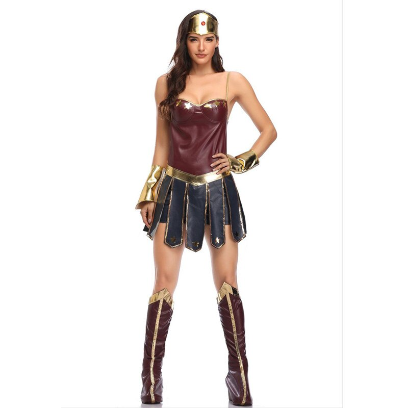 Wonder Woman Costume Adult Cosplay Leather Dress League of Legends Gladiator Uniform Diana Costume Halloween Costume for Women
