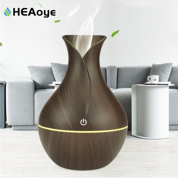 USB Wood Grain Essential Oil Diffuser Ultrasonic Air Humidifier Household Aroma Diffuser Aromatherapy Mist Maker with Light