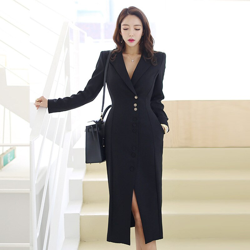 Women Blazer Dress Suits Fashion OL Split Dress Long Sleeve Turn-down Collar Woman Office Long Dress Jacket Female Outfits 2019