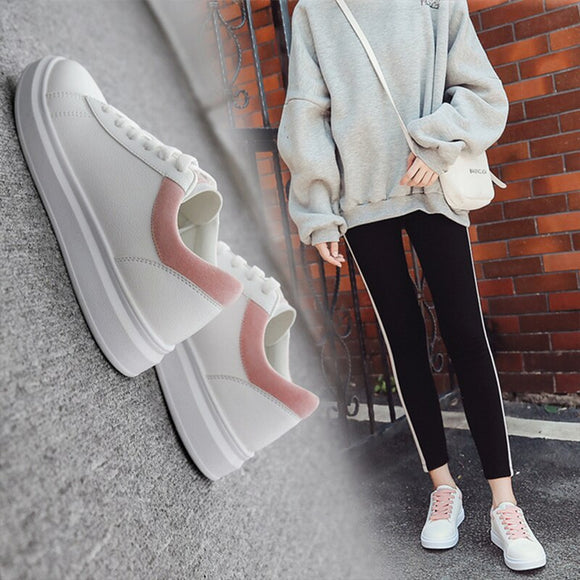 Women Casual White shoes All seasons Lace up Flat With Sneakers for Women PU leather waterproof Platform Women Shoes Soft